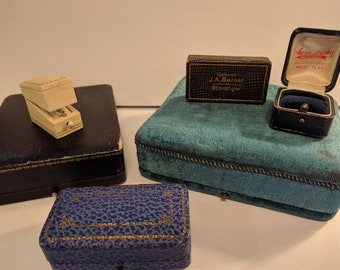 Collection of 6 Antique Jewelry Presentation Boxes