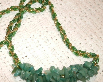 Aquamarine and Green and Gold Hand Beaded Rope Necklace