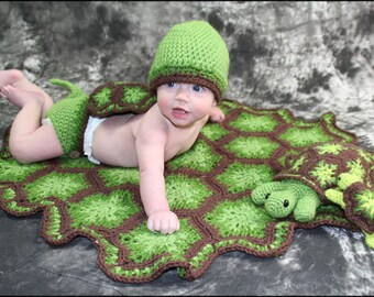 Turtle CROCHET PATTERN - Newborn Outfit, Cape, Diaper Cover, Hat, Baby Blanket, Turtle Stuffed Animal and Turtle Rattle