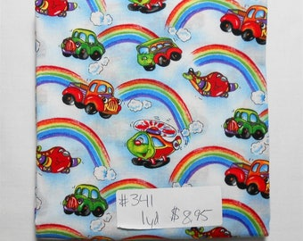 Fabric-1 yard piece #341- Rainbow/Plane/Helicopter/Truck/Car/clouds/Transportation/red/orange/yellow/green/blue/purple/white/black