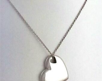 Tiffany & Co. Double Cut-Out Heart Pendant Necklace 6e12