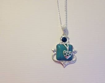 turquoise charm necklace on sterling silver chain