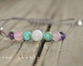Moonstone, Turquoise, Rose Quartz, Amethyst, Meditation Bracelet, Minimalist Jewelry, Hypoallergenic, Yoga Bracelet, Fertility