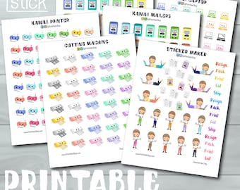 Sticker Making Planner Stickers - Printable Stickers - Perfect for Erin Condren, Happy Planner or any other! With Cut Files