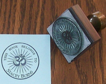 Personalized Starburst OM AUM Bookplate Ex Libris Rubber Stamp Personalized A01