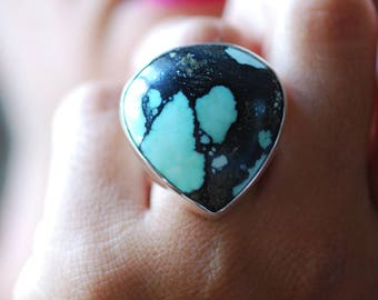 New Lander Spiderweb Turquoise Ring
