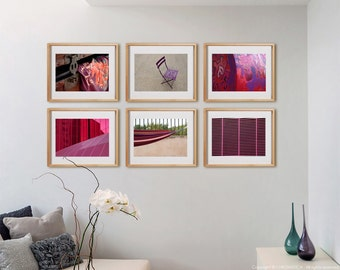 Burgundy 6H Print Collection.  Detail photography, pink, burgundy, architecture, decor, wall art, artwork, large format photo.