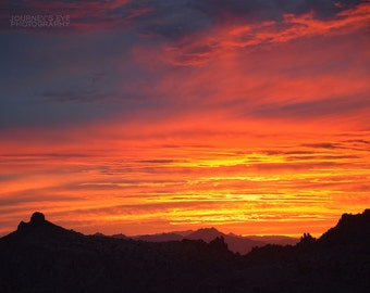 Sunset photograph, Arizona picture, Southwest art, mountains, landscape photography - Heavens