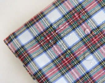 Laminated Cotton Fabric Plaid White By The Yard