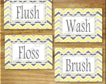 Yellow and Gray Chevron Zigzag Print Wall Art Bathroom Bath Decor Floss Flush Wash Brush UNFRAMED Photographs Photos Pictures Rules White