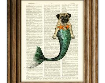 Miranda Merpug the Mermaid Pug searches the seas for the foodz dictionary page dog book art print …