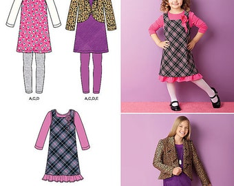 UNCUT Children's Dress, Jumper, Top, Jacket and Leggings Sewing Pattern Simplicity 2156 Size 3-4-5-6 Toddler, Girls, Outfit, Pants