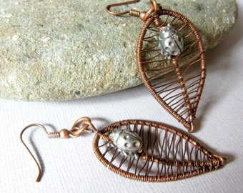 Leaf and Ladybug Earrings, Wire Woven Leaves Earrings, Copper Earrings, Ladybird Jewelry, Mixed Metals Earrings, Copper and SilverEarrings