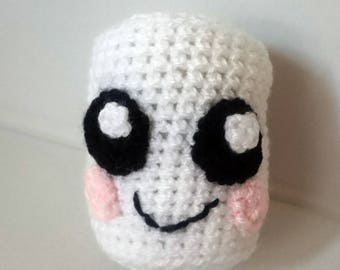 Happy Marshmallow bauble, Christmas tree decoration, Crochet marshmallow
