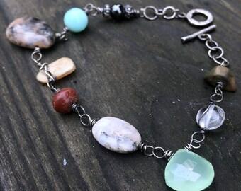 OOAK gratitude bracelet sterling silver and semiprecious gemstones