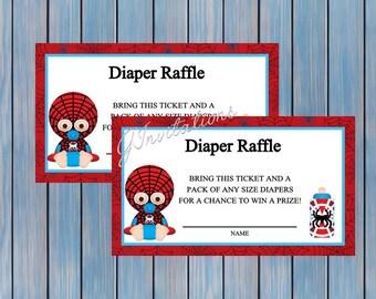 Baby Spiderman Diaper Raffle Ticket, Super Heros Baby Shower Diaper Raffle tickets