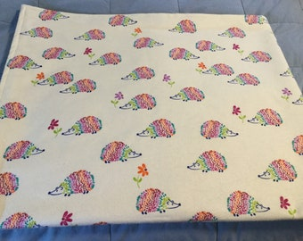 Handmade flannel pet blanket, hedgehogs