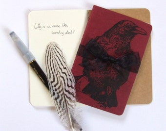 Red Raven Notebook Bird Notebook Hand Printed Pocket Moleskine Cahier Notebook
