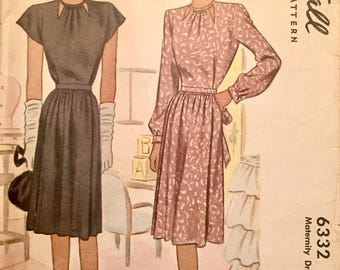 "Vintage 1945 Misses' Maternity Dress 6332 Size 14 (32"" Bust)"