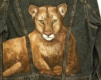 Hand painted Cougar on denim jean jacket