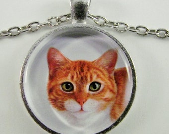 CLASSIC TABBY Necklace -- Handsome Tabby Cat Portrait necklace,  For cat lovers