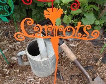 garden marker, carrots, veggie sign, garden decor, garden art, carrots in garden, vegetable garden sign, garden sign on stake, carrots sign