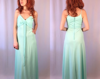 Vintage 1970's Sea foam Green Maxi Dress Small