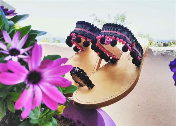 Greek Chic Sandal Gift Handmade Summer Her Shoes for Women Sandal Sandals Sandals Ethnic Boho Pink Gift Leather Pom Shoes Hippie Pom xgHzXH