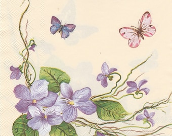 397 VIOLETS and BUTTERFLIES pattern 3 X 2 1 lunch size paper towel