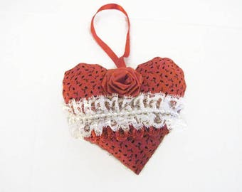 Red Print Fabric Heart, Valentine Stuffed Heart, Hanging Red Heart, Art Heart