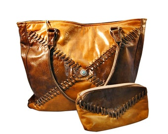 Western leather tote bag.  Made in USA