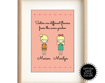 Personalized Sisters Quote Wall Art, Personalised Sisters Quote Nursery Decor, Personalized Twin Birth Siblings Printable