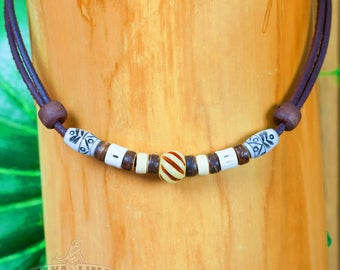 Surfer necklace Surf jewelry Leather necklace Surf style handmade by HANA LIMA ®