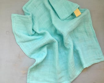 Gauze lovey, security blanket, small blanket, security banket, turquoise lovey
