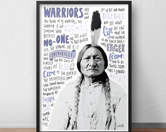 Sitting Bull quote print / poster hand drawn type / typography