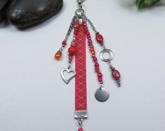 Jewel handbag, orange and pink tones