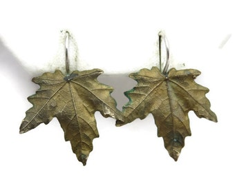 Bronze Leaf Earrings - Silver Hooks, Nature Vintage Earrings for Women