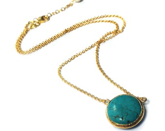 Coin Turquoise Necklace in Silver or Gold