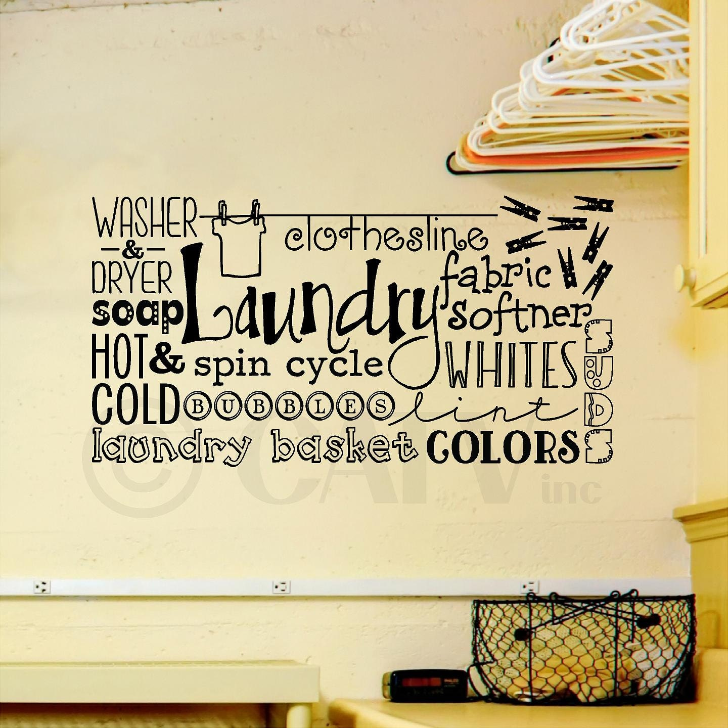 Laundry Collage wall saying vinyl lettering decal sticker