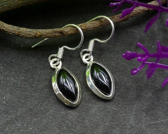 Natural Black Onyx Marquise Gemstone Drop Dangle Earring 925 Sterling Silver E365