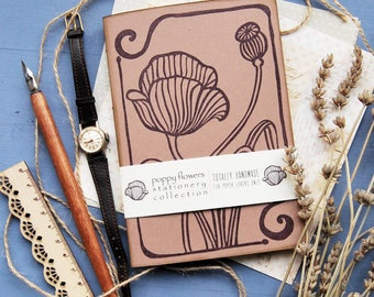 """Handmade notebook with recycled paper, handprinted journal, writers journal, gift for her, librarian gift, """"papaveri"""""""