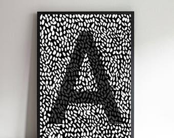 Initial Print, Personalised Letter Art, Bespoke Monochrome Alphabet Print