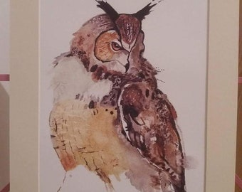 Owl print, from my original watercolor painting.