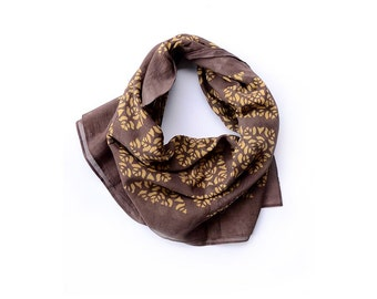 Brown cotton Scarf gold scarf SAMPLE SALE handmade Block Print wrap natural dye ichcha fall fashion women accessories gift for her - Phool