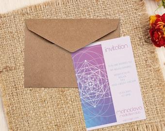 SoftPink and Blue Event Invitation-Mandala Event Invitation-Custom Text-Yoga Invitation
