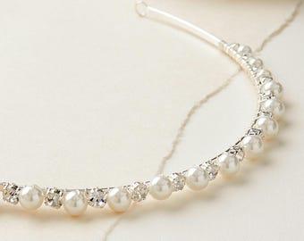 Pearl & Rhinestone Bridal Headband, Pearl Wedding Headband, Bridal Hair Accessory, Rhinestone Headband, Crystal Bridal Headband ~TI-3241