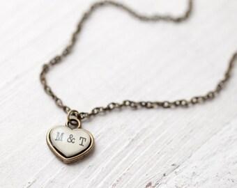 Small heart necklace, Tiny heart initial necklace, Heart necklace with initials, Couple initials gift, Custom necklase