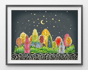 """Original Drawing - Abstract Trees. Colorful forest - 8.5x12"""" up to 24x34"""" Art Print, Wall Decor, Illustration"""
