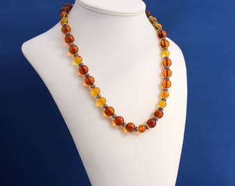 Natural Baltic and Yellow Amber Necklace, Natural Amber Necklace, AAA Amber and Bali Silver Necklace, Womens Amber Necklace, Adult Amber