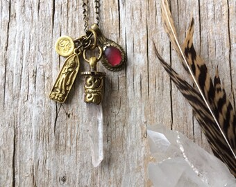 Crystal necklace, bohemian yoga jewelry, quartz point necklace, buddha necklace, gift for her